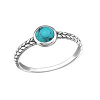 Turquoise Fine Banded Silver Ring