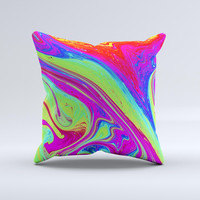 Neon Color Fusion V11  Ink-Fuzed Decorative Throw Pillow