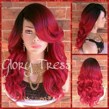 ON SALE // Long & Wavy Lace Front Wig, Ombre Red Wig, Side Swoop Bangs // HEART (Free Shipping)