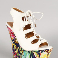 Dollhouse Floral Print Cutout Lace Up Platform Wedge Size: 8, Color: White