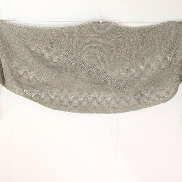 Lace Knit Silver Gray Grey Merino Wool Shawl Wrap Boho Style Scarf Snood Infinity Fall Winter Fashion Woman Lady Extra Long
