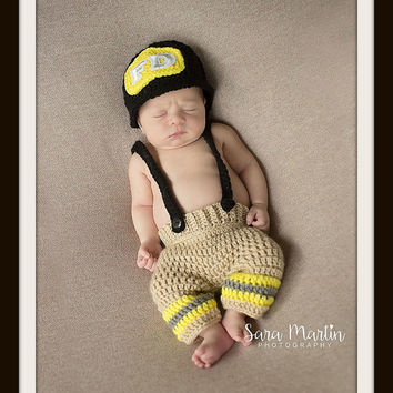 Firefighter baby photo prop, free shipping, crochet halloween costume, firefighter outfit, newborn crochet outfit, baby shower gift