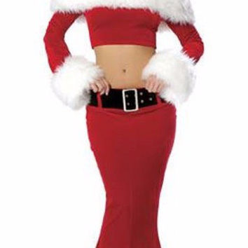 Red Long Sleeve Cropped Top and Maxi Skirt Christmas Costume