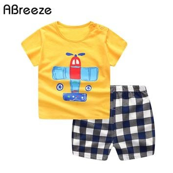 Summer style baby clothing cartoon 1-4Y little child clothing sets for baby boys & girls cotton plane print toddler sets