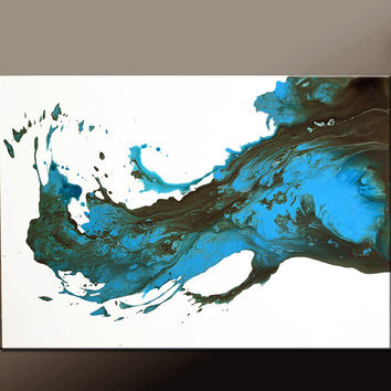 Abstract Canvas Art Painting 36x24 Original Blue Contemporary Paintings by Destiny Womack - dWo - When The Tears Fall
