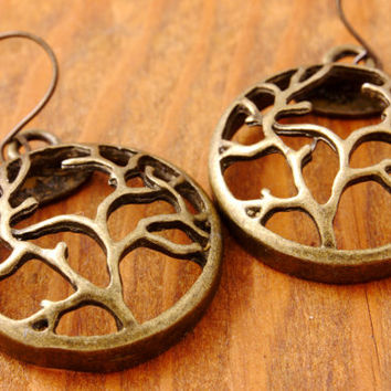 Tree of Life Earring - antique brass tree of life, antique tree of life, branch earring, tree earring