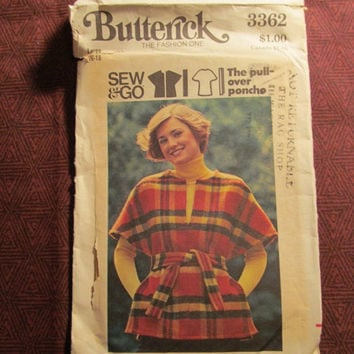 Sale Uncut 1970's Butterick sewing pattern, 3362! 16-18 Large/XL/Women's/Misses/Pull-Over Poncho Tops/Short Sleeve Shirts/Wool Shirts/Waist