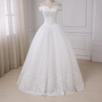 Off the Shoulder Beaded Wedding Dress Floor Length Applique Lace Bridal Gowns