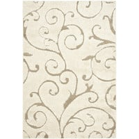 4-Ft x 6-Ft Modern Beige Shag Area Rug with Floral Swirl Pattern