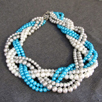 Braided Pearl Wedding Necklace - teal blue, white, silver, Tiffany Blue