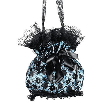blue and black lace shoulder bag, handbag in pompadour, gothic, bohemian or burlesque style, evening lace purse, womens drawstring bag 0300
