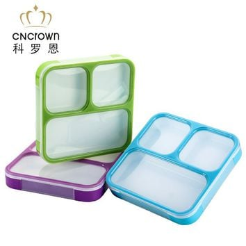 Mircowave Ultra-thin Seal Sets Portable Collar Ruled Student Microwave Lunch Seal Box Plastic Fashion Lunch Tray 3 Lattices