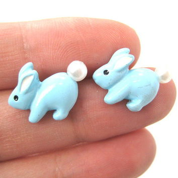 Bunny Rabbit Animal Stud Earrings in Light Blue with Pearls Super Cute from Dotoly Plus