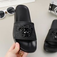 "Hot Sale ""Versac"" Fashion Women Men Casual Beach Home Sandals Slipper Shoes Full Black I-ALS-XZ"