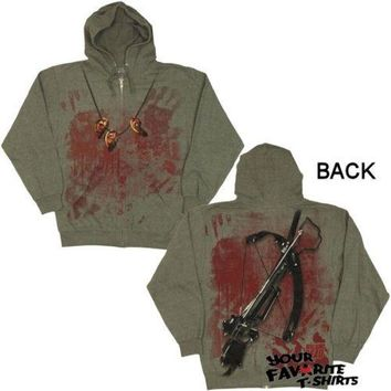 Walking Dead Daryl Dixon Crossbow Ears Costume Zip Up Hoodie
