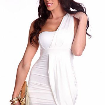White One Shoulder Strap Pleated Draped Front Stylish Dress @ Amiclubwear sexy dresses,sexy dress,prom dress,summer dress,spring dress,prom gowns,teens dresses,sexy party wear,women's cocktail dresses,ball dresses,sun dresses,trendy dresses,sweater dresse