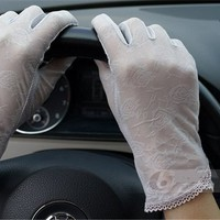 Women's Summer Driving Gloves Lace Dots Sun Uv Protection Outdoors 100% Grey