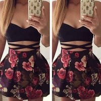 Summer Dress Fashion Casual Sexy Style Sleeveless 2017 Print Women Backless Patchwork Mini Elegant Empire A-Line Women Dresses