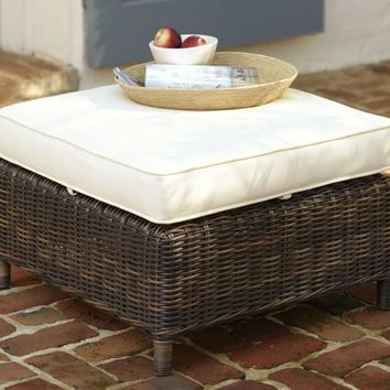 TORREY ALL-WEATHER WICKER SQUARE OTTOMAN - ESPRESSO