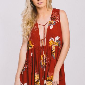 Free People Lovely Day Printed Tie Top
