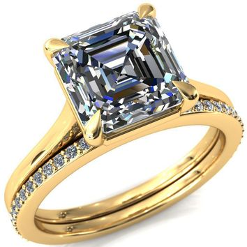Lizzy Asscher Moissanite 4-Claw Prong Engagement Ring