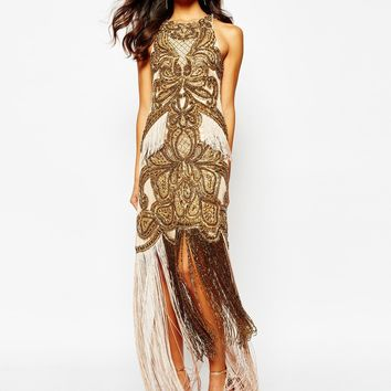 A Star Is Born Luxe Allover Jewel Embellished Maxi Dress With Beaded Tassel Hem