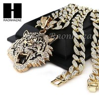 DCCKH7E Mens 14k Plated DRAKE TIGER Pendant w/ 30' Iced Out Cuban Link Chain NN032G