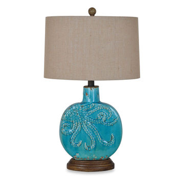 Crestview Collection Deep Ocean Table Lamp in Turquoise with Burlap Shade