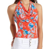Floral Print Cowl Halter Top by Charlotte Russe - Coral