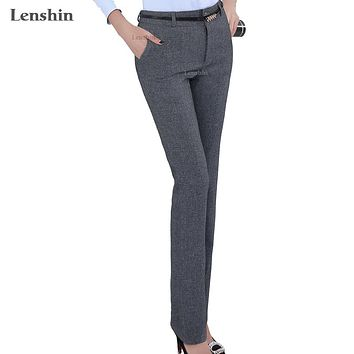 Belt Loop Formal Pants For Women Lady Style Work Wear Straight Trousers Clothing