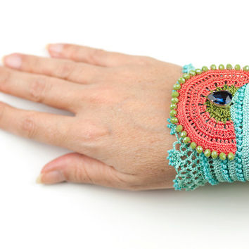 Handmade Floral Lace Bracelet / Crochet Lace Cuff / Mint Pastel Red Green Blue / Beaded Cuff / Boho Style / Fiber Art Jewelry