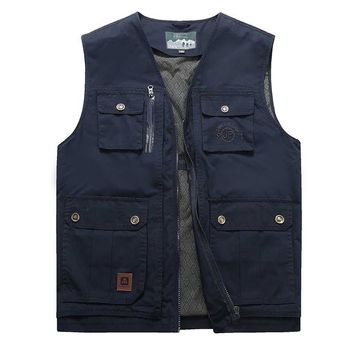 Big Size L-9XL Hollow Out Hole Casual Vests Male with Many Pockets Men Sleeveless Jacket Waistcoat Military Style Cargo Vest