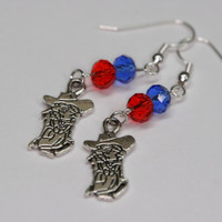 Colonel Reb Ole Miss dangle earrings with a blue and red Swarovski crystal bead University of Mississippi