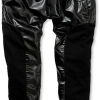 American Stitch Faux Leather & Fleece Jogger Pants