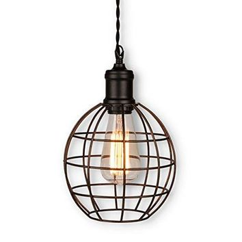 Round Cage Hanging Lamp with Edison Bulb