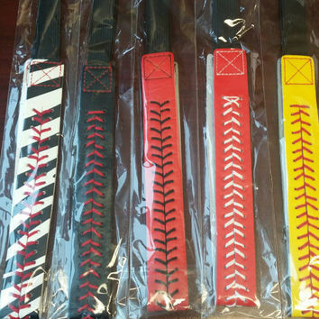 Leather Softball Headband with stitching, team, player, fan, sport