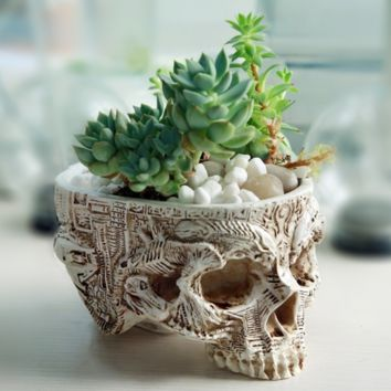 Gothic Skull Flower Pot, Vase, Pen Holder
