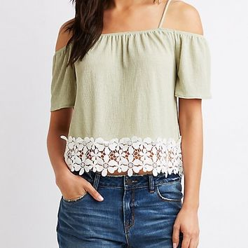 Crochet-Trimmed Cold Shoulder Top | Charlotte Russe