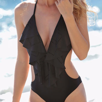 Black One Piece Swimsuit Flirty Plunging Neck Flouncing One-Piece Frill Swimwear