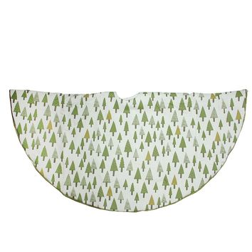 "48"" Cream White Cotton Forest Print Christmas Tree Skirt with Sparkle Green Trim"