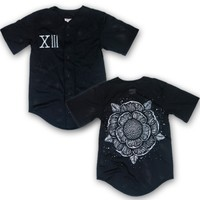 Flower Black Baseball Jersey : SWRN : Sworn In