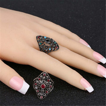 Womens Girls Unique Vintage Style Old Silver Ring Best Gift Rings-18