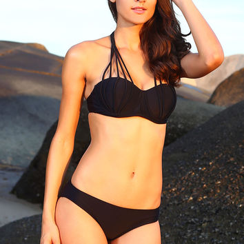 Black Strappy Halterneck Bikini Swimsuit
