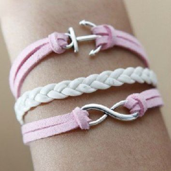 Infinity anchor pink braided rope bracelet