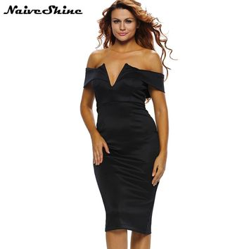 Women's Sexy Party Dresses Elegant Off Shoulder Deep V-Neck Butterfly Sleeve Sheath Black Dress