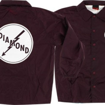 Diamond Lightning Coaches Jacket Large Burgundy
