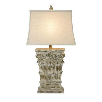 Table Lamp - Off White With Brushed Gold Details
