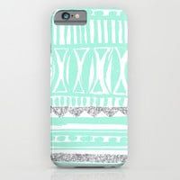 mint tribal & glitter iPhone & iPod Case by Hannah