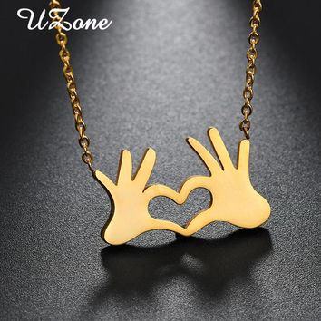 UZone Gold-color Double Hand Love Heart Pendant Necklaces Stainless Steel Love Gesture Necklace for Women Gifts Best friends