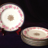 Antique Theodore Haviland Set of 6 Luncheon Plates Handpainted Roses & Blue Border- Mother's Day/Engagement/Shower/Wedding/Housewarming Gift